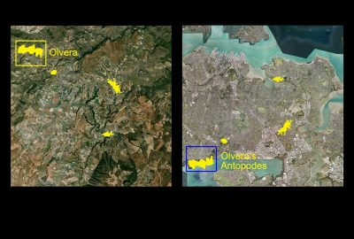 The satellite image shows the location of Olvera and its neighbouring villages (left), and the position of their antipodes on Auckland's territory.
