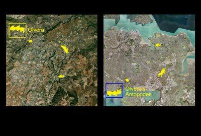 Das Satellitenbild zeigt die Lage Olveras mit Nachbarorten (links) und die Lage ihrer Antipoden im Stadtgebiet Aucklands (rechts).