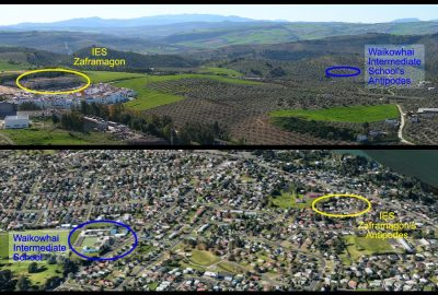 The two schools' precise antipodal position differs by approximately 600 meters.